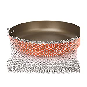 Stainless Steel 8x6 Inch 316L Cast Iron Cleaner Chainmail Scrubber for Cast Iron Pan Skillet Scraper Glass Cookware Hot Pot XL