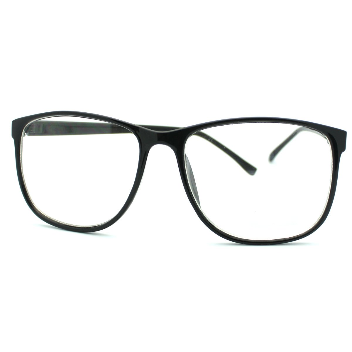 grinderPUNCH Large Nerdy Thin Plastic Frame Clear Lens Glasses 9297C-BLK-GP