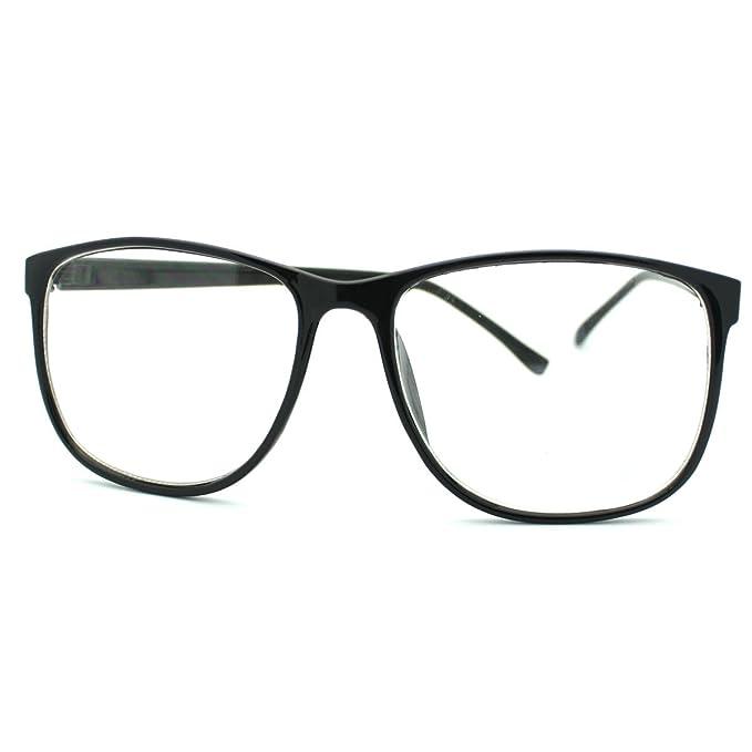 a2947c67cf5 Black Large Rectangular Thin Plastic Frame Clear Lens Fashion Eye Glasses   Amazon.ca  Shoes   Handbags
