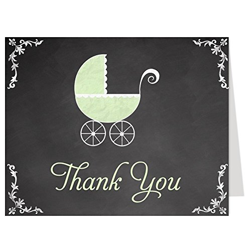 Chalkboard Carriage, Baby Shower Thank You Cards, Green, Mint, Sage, Carriage, Gender Neutral, Set of 50 Printed Folding Notes with Envelopes,, Blackboard, Traditional (Mint)