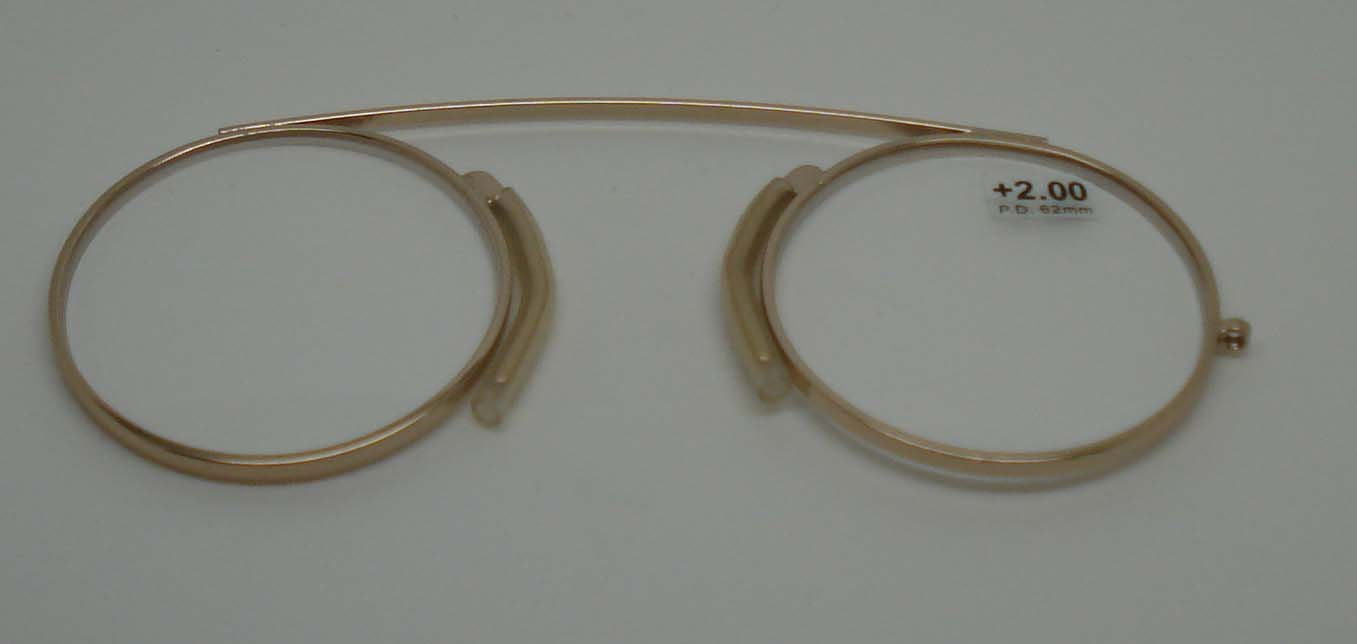 Modern Pince Nez Reading glasses /Spectacles Gold colour +2.00 with pouch by Comsafe Vision KBQFSPW