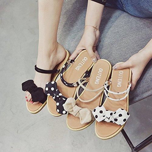 Schuhe Retro Strand apricot Sommer Frau Sandalen Schuhe Student Wilden Sandalen Füße Einfachen ITTXTTI Mode Bogen x704fq