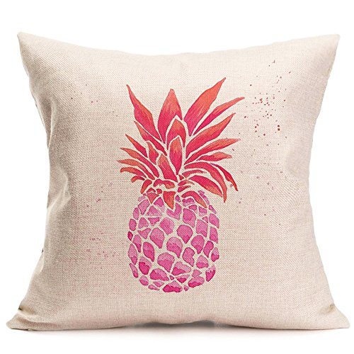 PSDWETS Home Decor Summer Style Pineapple Throw Pillow Covers Set of 4 Cotton Linen Throw Pillow Case Cushion Cover 18 X 18