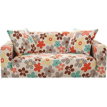 Zhiyuan Flower Stretch Spandex Furniture Slipcover, Double Seat, Multicolor