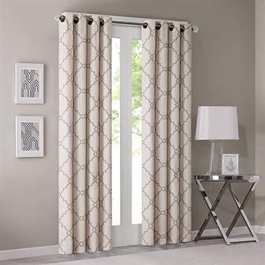 Madison Park Saratoga Fretwork Print Window Curtain Beige 95 Panel