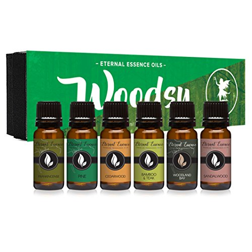 Woodsy Gift Set of 6 Premium Grade Fragrance Oils - Frankincense, Pine, Cedarwood, Bamboo & Teak, Woodland Bay, Sandalwood - 10Ml - Scented Oils ()