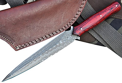 Handmade Dagger Knife Made With Damascus Steel Double Edged Cherry Color In Gray Leather Sheath Fixed Blade Best Survival Knife Top Quality – Buy With…