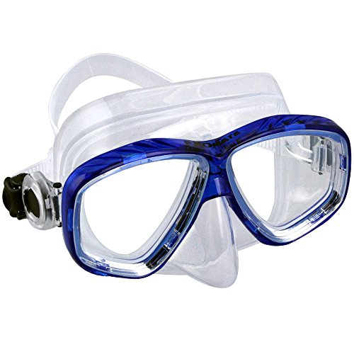 Promate Different Nearsight Optical Corrective Lenses on Each Side Snorkel Mask, tBlue