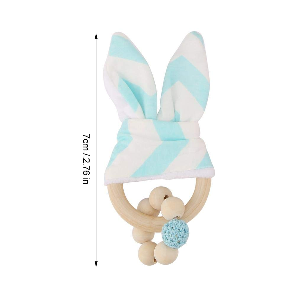 Granos coloridos hechos a mano de madera adorable conejito orejas anillo de dentici/ón formaci/ón sensorial juguete decoraci/ón colgante para beb/és ni/ños peque/ños White