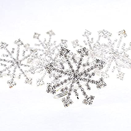 Factory Direct Craft Group of 6 Sparkling Holiday Rhinestone Crytal  Snowflake Napkin Rings for Embellishing a Holiday Table or Display