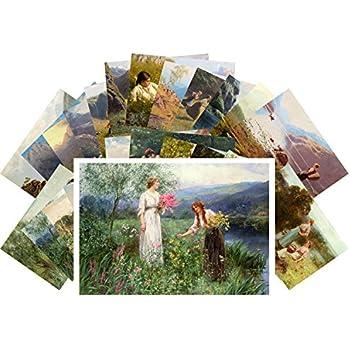Postcards Set 24 pcs Vintage Painting Country Johan Krouthen REPRINT CD3005