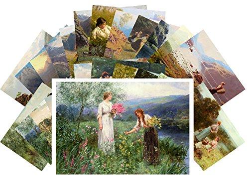 Postcard Set 24 cards Country Girl Rural Landscapes Vintage Painting by Hans Dahl