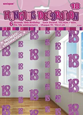 Unique Party- Paquete de 6 decoraciones de 18 cumpleaños, Color rosa, Edad (55322)