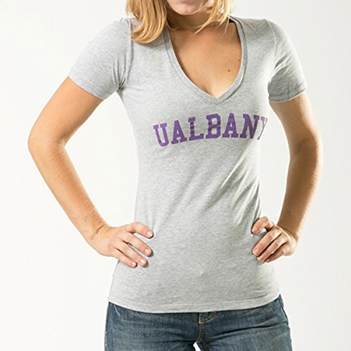 W Republic Game Day Womens Tee UAlbany, Heather Grey - 2XL