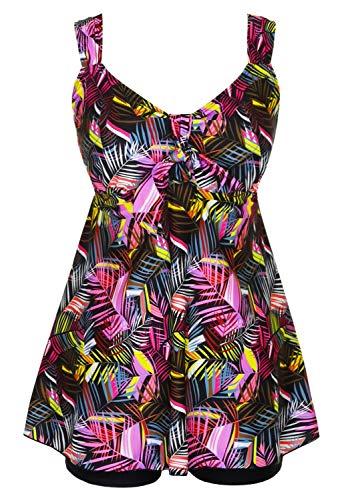 DANIFY Women's Plus Size Swimwear Two Piece Swimsuit Pin up Tummy Control Tankini Swimdress