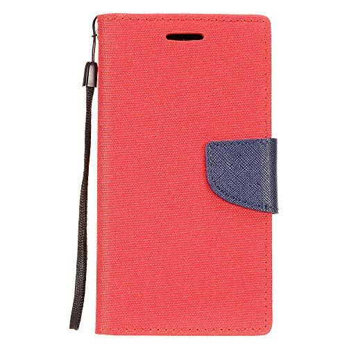 Bemz Denim Fabric/Synthetic Leather Wallet Phone Case (Red/Blue) Compatible with Alcatel Avalon V, TCL LX, idealXTRA, 1X Evolve with Tempered Glass Screen Protector and Atom Cloth