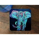 Trendy Accessories Blue Elephant Aztec Art Design Print Image Silicone Drink Beverage Coaster 4 Pack
