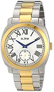 a_line Men's AL-80016-YG-SS-22 Pyar Silver Textured Dial Two Tone Stainless Steel Watch
