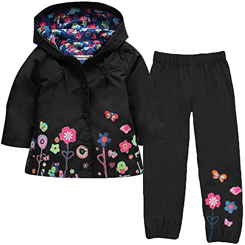 LZH Girl Baby Kid Waterproof Hooded Coat Jacket Outwear Suit Raincoat Hoodies with Pants Black 6(For Age 5-6Y)