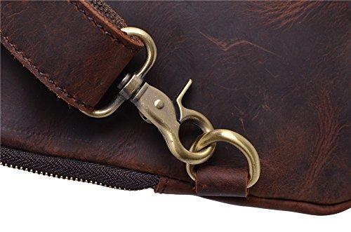 Genda 2Archer Bolso de Cuero Retro del Pecho del Bolso de Hombro que va de Excursión Para los Hombres (31cm * 6cm * 25cm) (Café) Marrón