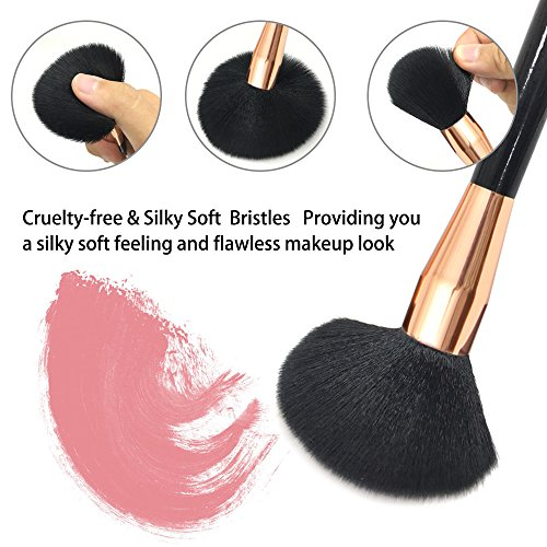 Makeup Brushes, Qivange 15 pcs Professional Makeup Brush Set Premium Synthetic Vegan Face Foundation Powder Contour Eye shadow Blush Lip Cosmetic Brush Kit with Gift Box