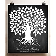Personalized Family Tree Chalkboard Wedding Guest Book Alternative Poster Anniversary Gift for Parents Custom Art Print up to 100 People 20x24