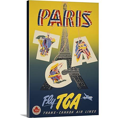 (Paris via Trans-Canada Air - Vintage Travel Advertisement Canvas Wall Art Print, 24