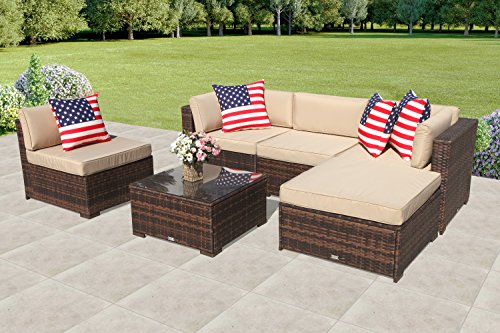 PATIORAMA Outdoor Patio Sectional Furniture (6-Piece Set) All-Weather Brown Wicker Sectional with...