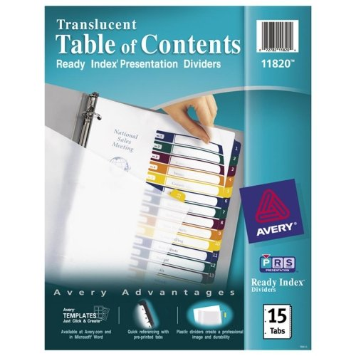 Avery Ready Index Translucent Table Of Content Dividers - 15 x Divider - Print-on - 15 Tab(s)/Set - 8.50quot; x 11quot; - 15 / Set - Clear Divider - Multicolor Tab (Dividers Tab 15 Avery)