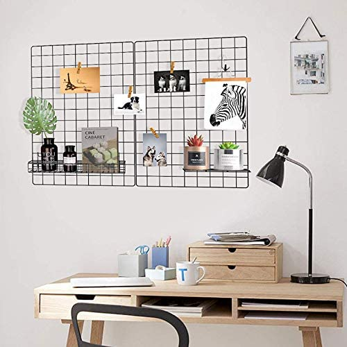 wire.Pack of,65x45size2 and20x20size1 for,Hooks5,Metal wire clips8 JH/&Hoden-Wall grid panels-A panels to decor a photo with memories-Grid wall//Organizer,A metal grids that can be decorated with shelf