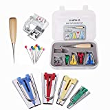 YEQIN 16 Pcs Fabric Bias Tape Maker Kit for Sewing Quilting, Awl and Adjustable Binder Foot, Ball Pins with Case