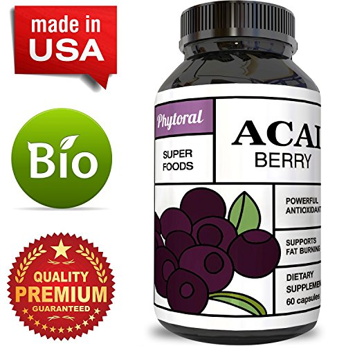 Acai Berry – Detox Cleanse – Antioxidant + Weight Loss Supplement – Immune System Booster – Promotes Digestion & Cardiovascular Health – Superfood + Vitamins – All Natural Pills – Made by Phytoral