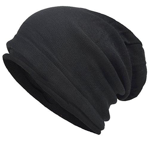 VECRY Men's Cool Cotton Beanie Slouch Skull Cap Long Baggy Hip-hop Winter Summer Hat (Roll-Black) - Long Beanie Cap