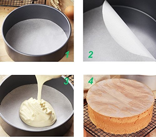 (Set of 100) Non-Stick Round Parchment Paper 8 Inch Diameter, Baking Paper Liners Round for Cake Pans Circle