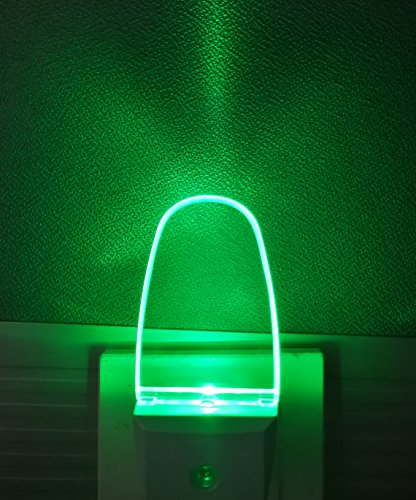 Plug in LED Night Light with Auto Sensor for Adults, Kids, 2 Pack, Green