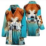 Pawzglore Cute Akita Dog Print Women's Bath Robe 7