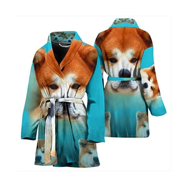 Pawzglore Cute Akita Dog Print Women's Bath Robe 3