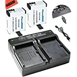 Pack of 2 Batteries and Dual Charger for SJCAM SJ4000, SJ5000, SJ6000, and GeekPro Cameras