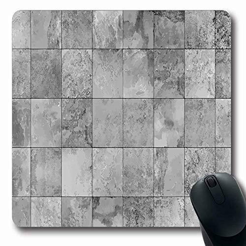VivYES Gaming Mousepad Custom Ceramic Floor Slate Light Gray Map Surface Graphics Porcelain Marble Backsplash Granite Design Rough Oblong Shape 7.9 x 9.5 Inches Rectangle Non-Slip Rubber Mouse Pads