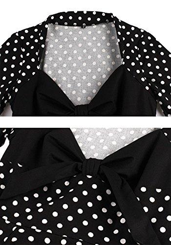 Botomi Frauen - Polka Dots - Kleid, Vintage - Swing - Party, 01.S Black, XXXL
