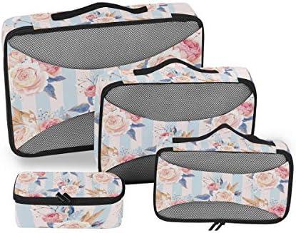 フラワーローズアート荷物パッキングキューブオーガナイザートイレタリーランドリーストレージバッグポーチパックキューブ4さまざまなサイズセットトラベルキッズレディース