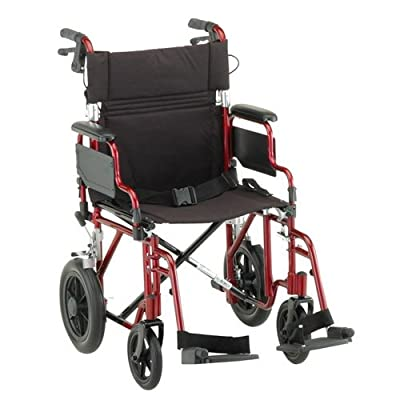 "NOVA 352 Lightweight Transport Chair with Detachable Desk Arms, Hand Brakes and 12"" Rear Wheels, 19"""