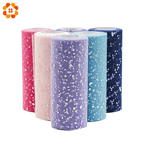 Tyro 25YardX15cm Glitter Sequin Tulle Roll Crafts Diamond Organza Sheer Element for Table Runner Home Garden Wedding Party Decoration from Tyro