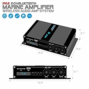 Pyle Home Marine Car Amplifier - 2-Channel Bridgeable Compact 200 Watt RMS 4 OHM Full Range Monoblock Stereo & Waterproof - Wireless Bluetooth Receiver Audio Speaker w/ LCD Digital Screen (PFMRA340BB)