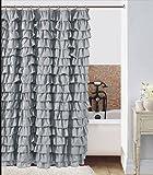 Waterfall Silver Ruffled Shower Curtain