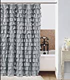 Silver Shower Curtain Waterfall Silver Ruffled Shower Curtain