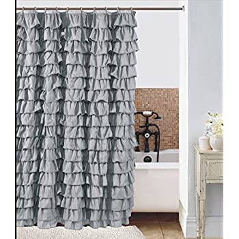 Marvelous This Item Waterfall Silver Ruffled Shower Curtain