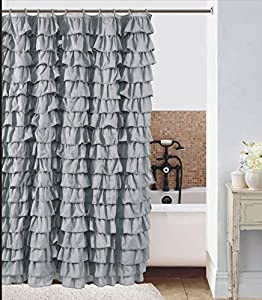 Amazon Waterfall Silver Ruffled Shower Curtain Home