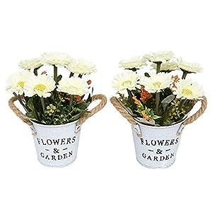 Doannotium Set of 2 Artificial Mini Potted Plants Daisy Artificial Flowers Home Decoration (White)