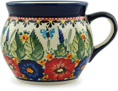 Polish Pottery Coffee Mug Bubble 16 oz Spring Splendor UNIKAT (Large Pottery Polish Mug)